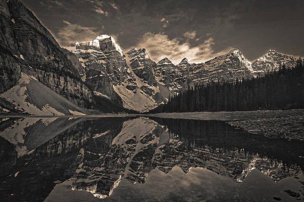 Photograph - Moraine Lake At Sundown - Black And White by Stuart Litoff