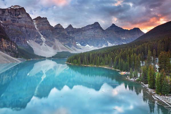 Wall Art - Photograph - Moraine Lake At Sunrise, Banff National by Sara winter