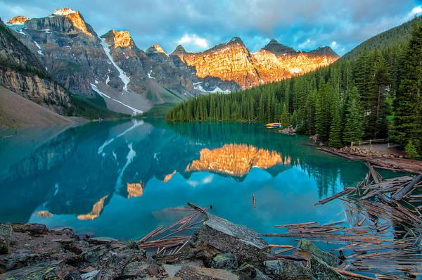 Wall Art - Photograph - Moraine Lake Yellow Mountains by James Wheeler