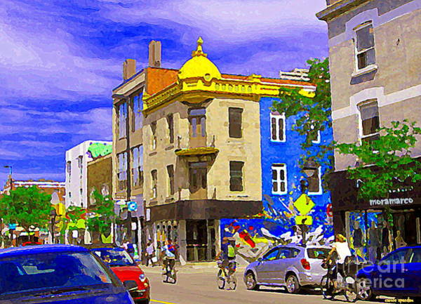 Painting - Moramarco And Resto Salle A Manger Mont Royal Cycling By Rue Chambord  Montreal Scenes               by Carole Spandau