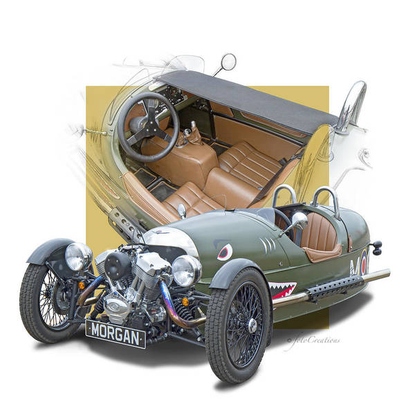 Wall Art - Digital Art - Morgan 3-wheeler by Roger Beltz