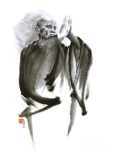 Martial Arts Painting - Morihei Ueshiba Sensei Aikido Martial Arts Art Japan Japanese Master Sum-e Portrait Founder by Mariusz Szmerdt