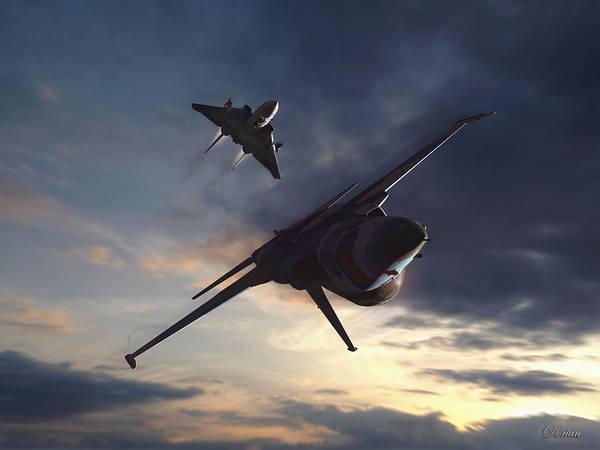 Merge Digital Art - Morning Aerobatics by Dorian Dogaru