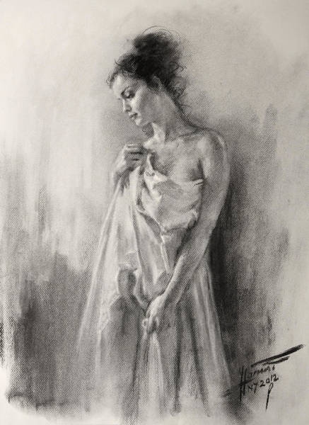 Nude Drawing - Morning Beauty  by Ylli Haruni