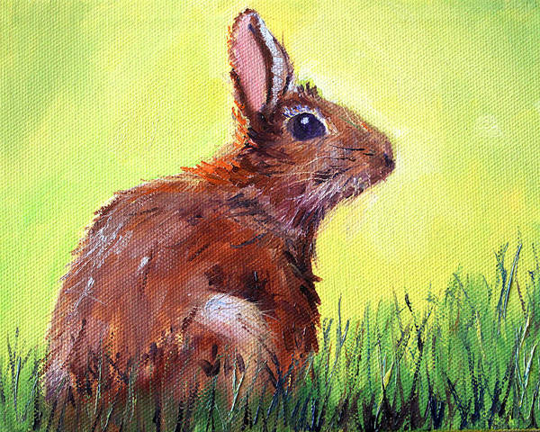Prairie Grass Painting - Morning Bunny by Nancy Merkle