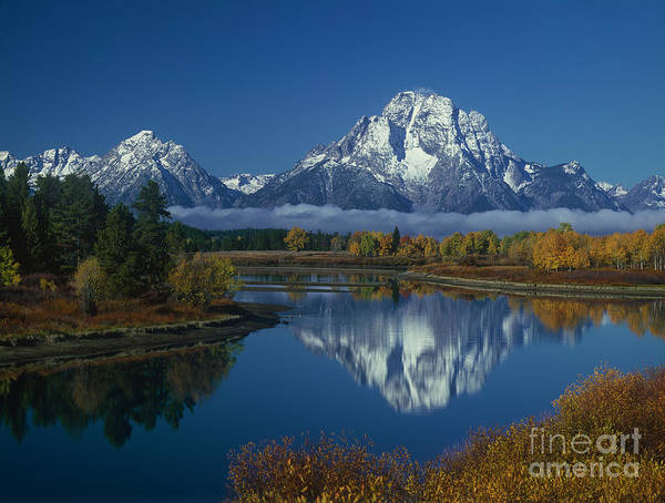 Photograph - Morning Cloud Layer Oxbow Bend In Fall Grand Tetons National Park Wyoming by Dave Welling