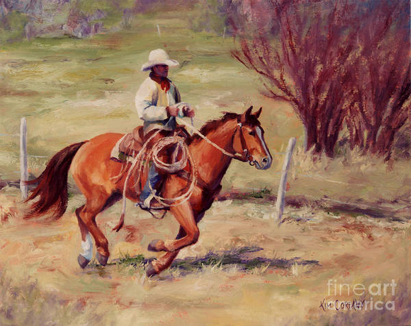 Roping Painting - Morning Commute Working Cowboy Western Art by Kim Corpany