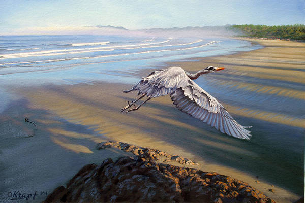 Pacific Wall Art - Painting - Morning Fight-blue Heron by Paul Krapf