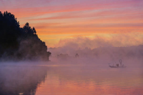 Misty Photograph - Morning Fishing by ??? / Austin