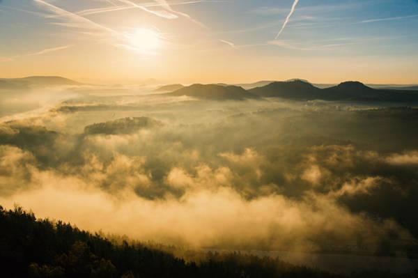 Morning Fog In The Saxon Switzerland Art Print