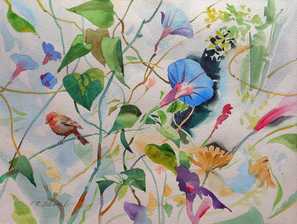 Painting - Morning Glories With A Bird by John Norman Stewart