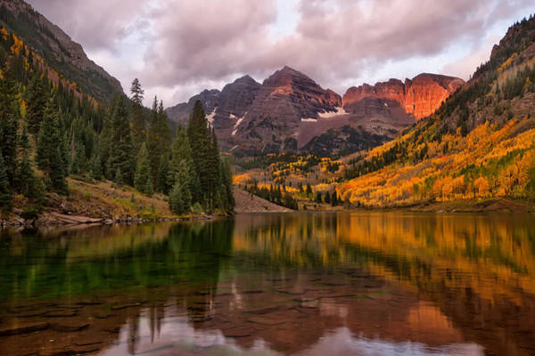 Wall Art - Photograph - Morning Glow On The Maroon Bells Colorado by Ronda Kimbrow
