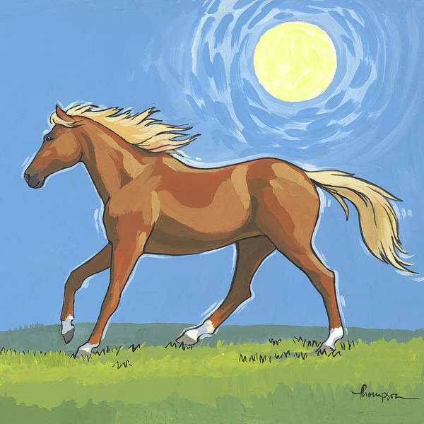 Chestnut Horse Painting - Morning Horse Square Version by Tracie Thompson