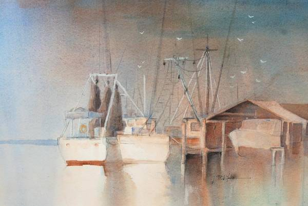 Shrimp Painting - Morning In St. Mary's by Robert Yonke