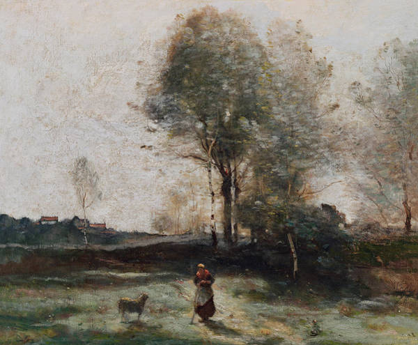 The Shepherdess Wall Art - Painting - Morning In The Field by Jean Baptiste Camille Corot