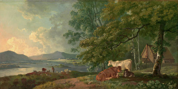 Wall Art - Painting - Morning Landscape With Cattle, George Barret by Litz Collection