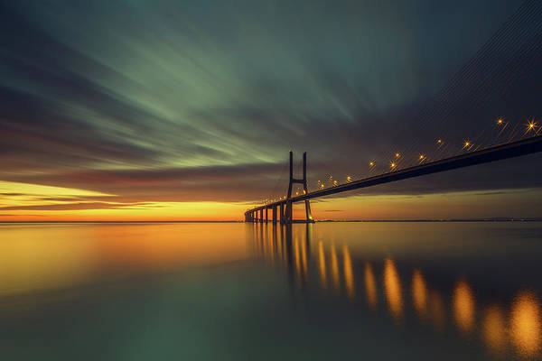 Suspension Bridge Photograph - Morning Lights by Thomas Siegel