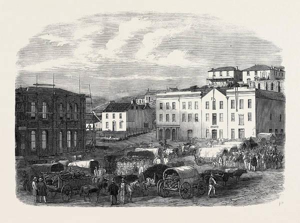 Wall Art - Drawing - Morning Market At Port Elizabeth 1866 by English School