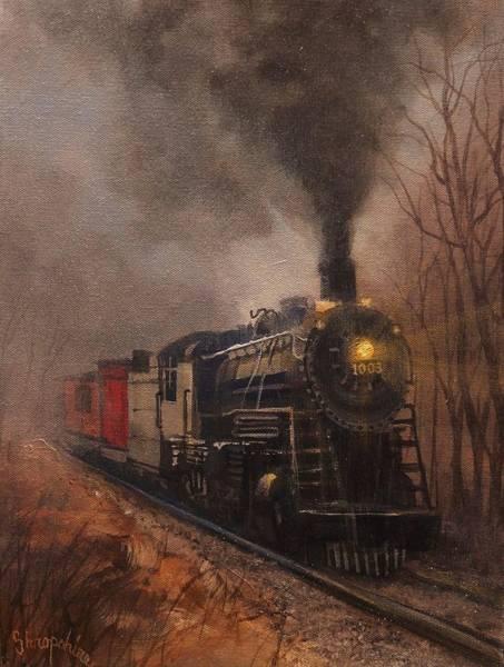 Railroads Painting - Morning Mist Soo Line 1003 by Tom Shropshire