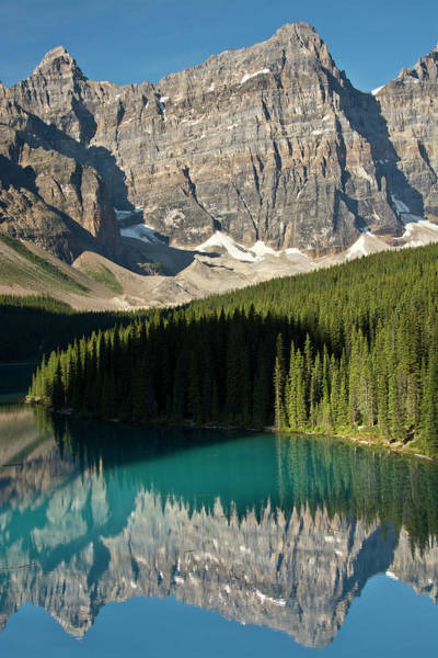 Glacial Photograph - Morning, Moraine Lake, Reflection by Michel Hersen