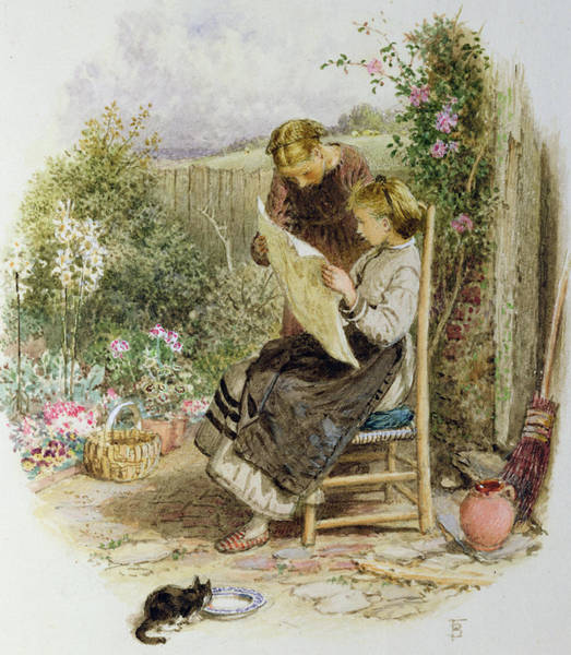 Wall Paper Painting - Morning News by Myles Birket Foster