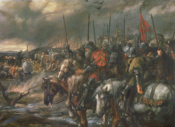 Hundred Photograph - Morning Of The Battle Of Agincourt, 25th October 1415, 1884 Oil On Canvas by Sir John Gilbert