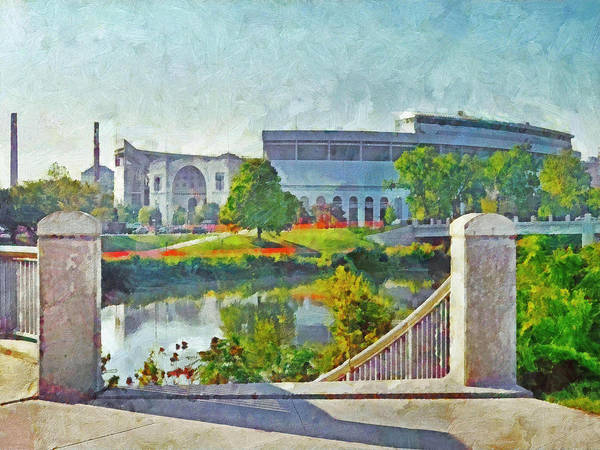 Digital Art - The Horseshoe By Morning Light. The Ohio State University by Digital Photographic Arts