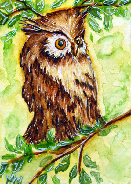 Painting - Morning Owl by Monique Morin Matson
