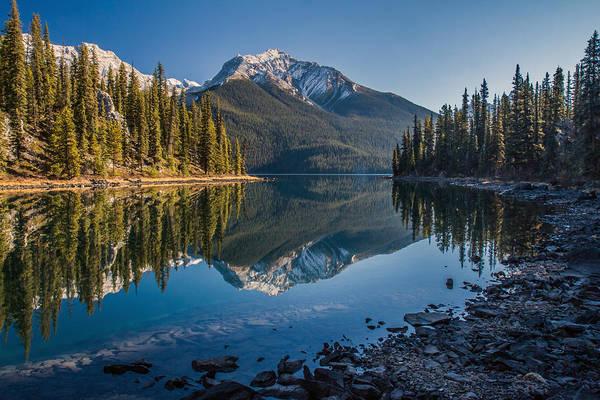 Photograph - Morning Reflection At Maligne Lake Jasper by Pierre Leclerc Photography