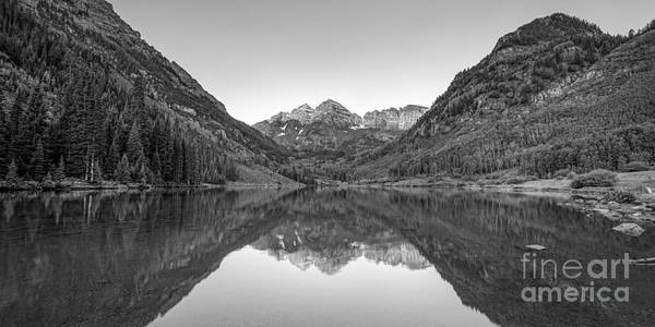 Maroon Bells Photograph - Morning Reflections Bw by Michael Ver Sprill
