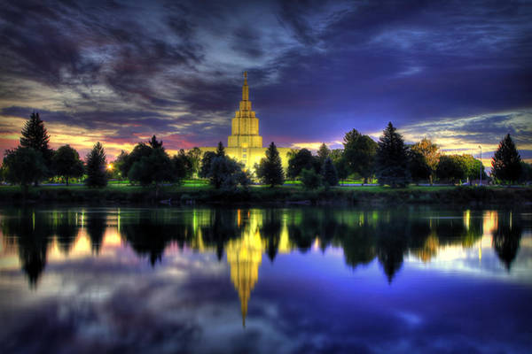 Judaism Wall Art - Photograph - Morning Reflections Of Idaho Falls Temple  by Ryan Smith