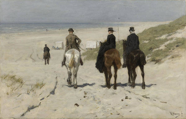 Wall Art - Drawing - Morning Ride Along The Beach, Anton Mauve by Litz Collection
