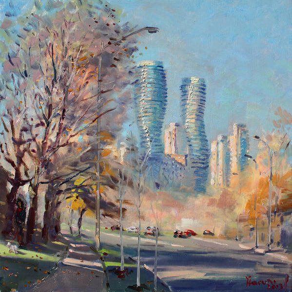 Downtown Wall Art - Painting - Morning Sunlight In Mississauga by Ylli Haruni