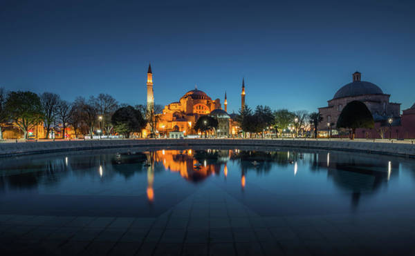 Hagia Sophia Photograph - Morning View Of Hagia Sophia With by Coolbiere Photograph