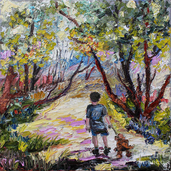 Painting - Morning Walk With His Dog by Ginette Callaway