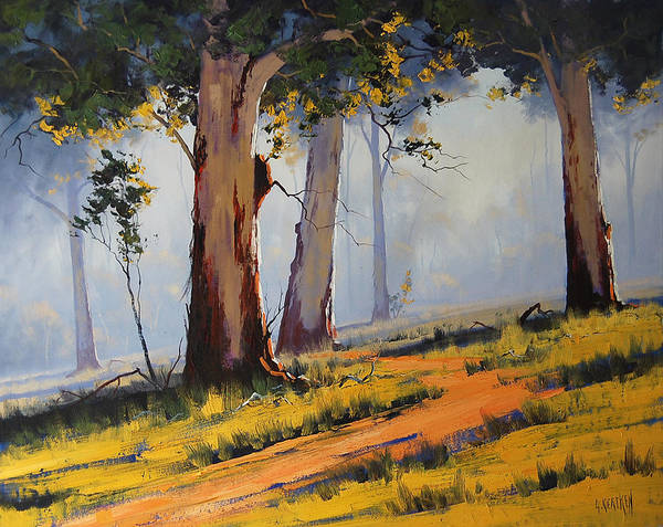 Old Tree Painting - Morning Woodland by Graham Gercken
