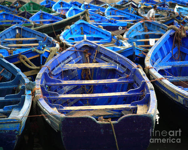 Photograph - Moroccan Blue Fishing Boats by Deborah Benbrook