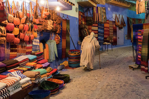 Chefchaouen Wall Art - Photograph - Morocco An Elderly Man Walks by Brenda Tharp