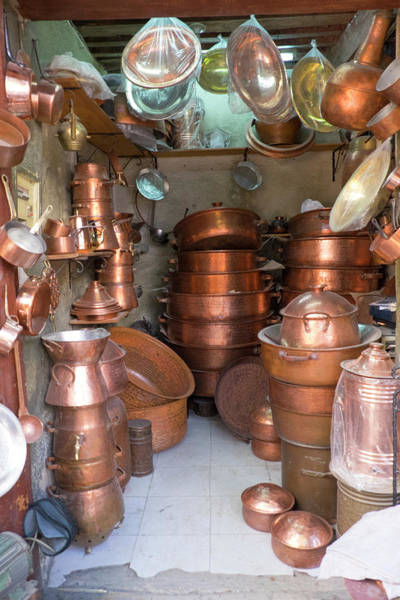 Craftsmanship Photograph - Morocco, Fez, Medina Store Of Copper by Emily Wilson