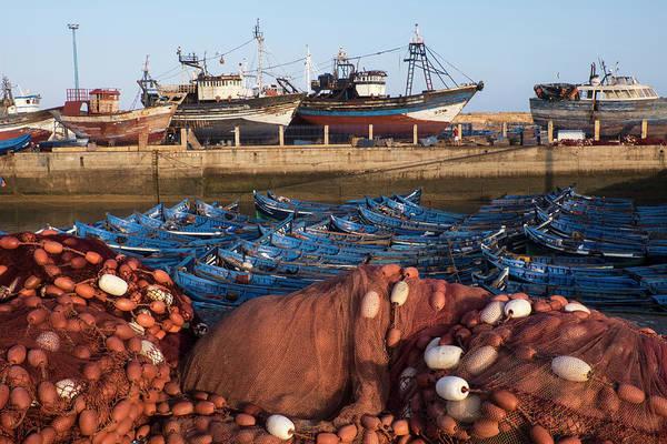 Dry Dock Photograph - Morocco Fish Nets, Floats, Boats by Brenda Tharp