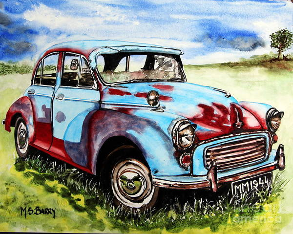Collector Car Painting - Morris Minor by Maria Barry