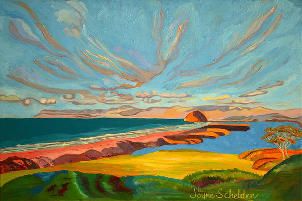Morro Bay Painting - Morro Bay Sandspit by Jayne Schelden