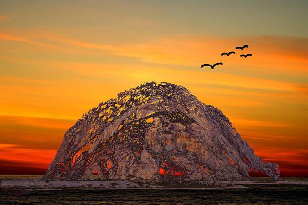 Morro Bay Digital Art - Morro Rock 3007 by Barbara Snyder