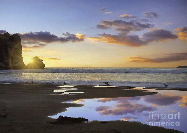 Morro Bay Digital Art - Morro Rock Reflection by Sharon Foster