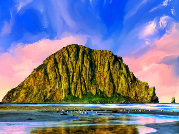 Morro Bay Painting - Morro Rock Sunset by Dominic Piperata