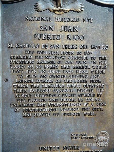 Wall Art - Photograph - Morrow Castle Historic Sign San Juan Puerto Rico by Merton Allen