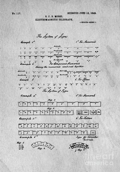 Wall Art - Digital Art - Morse Code Original Patent by Edward Fielding
