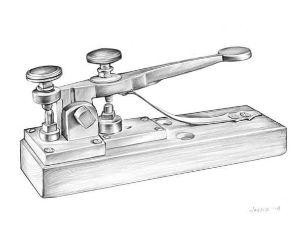 Invention Wall Art - Drawing - Morse Telegraph by Greg Joens