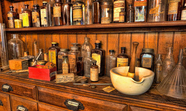 Wicca Photograph - Mortar And Pestle With Apothecary Bottles Iv - Pharmacist  by Lee Dos Santos