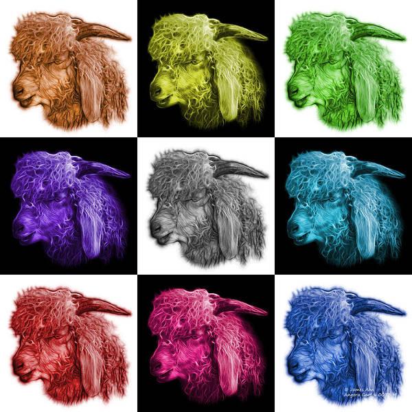 Digital Art - Mosaic Angora Goat - 0073 F - M - V2 by James Ahn